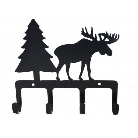 Hakenleiste mit 4 Haken - Design mit Elch und Tannenbaum aus Eisen